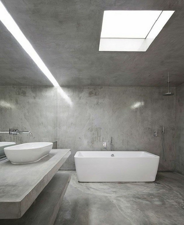 cuartos de baño gris lampara lavabo contraste