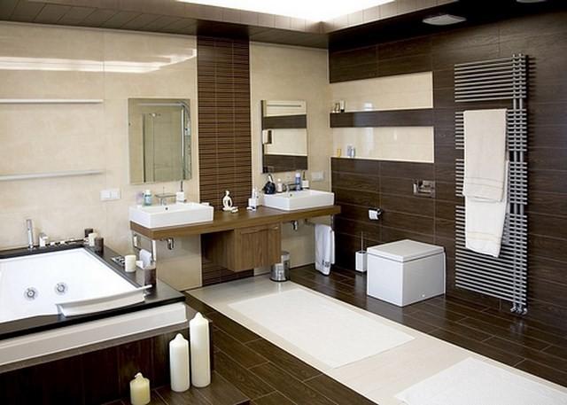 cuartos de baño madera muebles moderno contraste