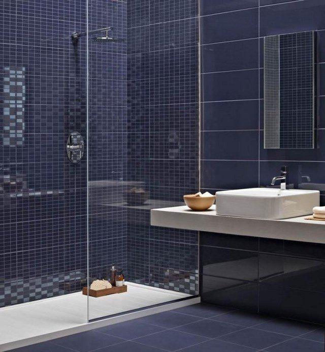 cuartos de baño mozaico ducha oscuro moderno