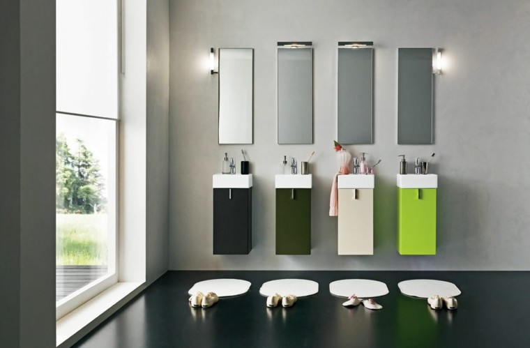 cuatro lavabos color verde modernos