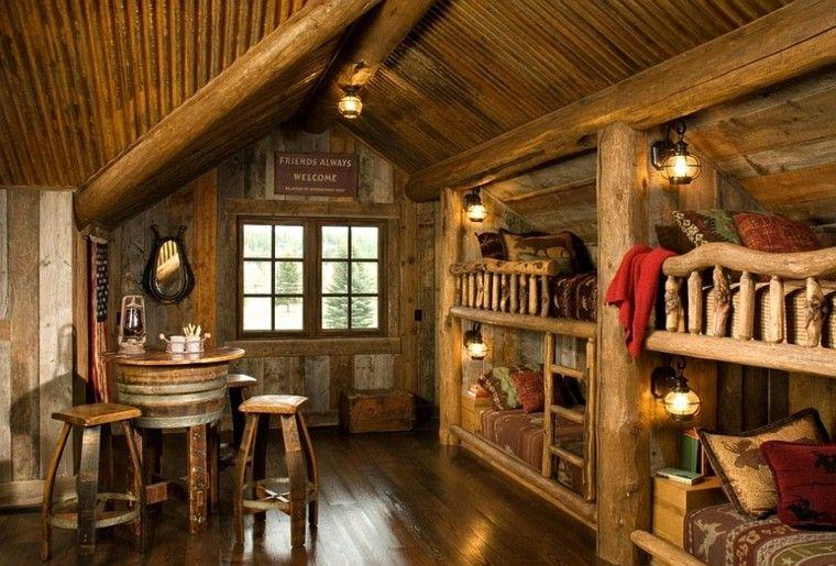 cuatro literas cabaña madera rústica