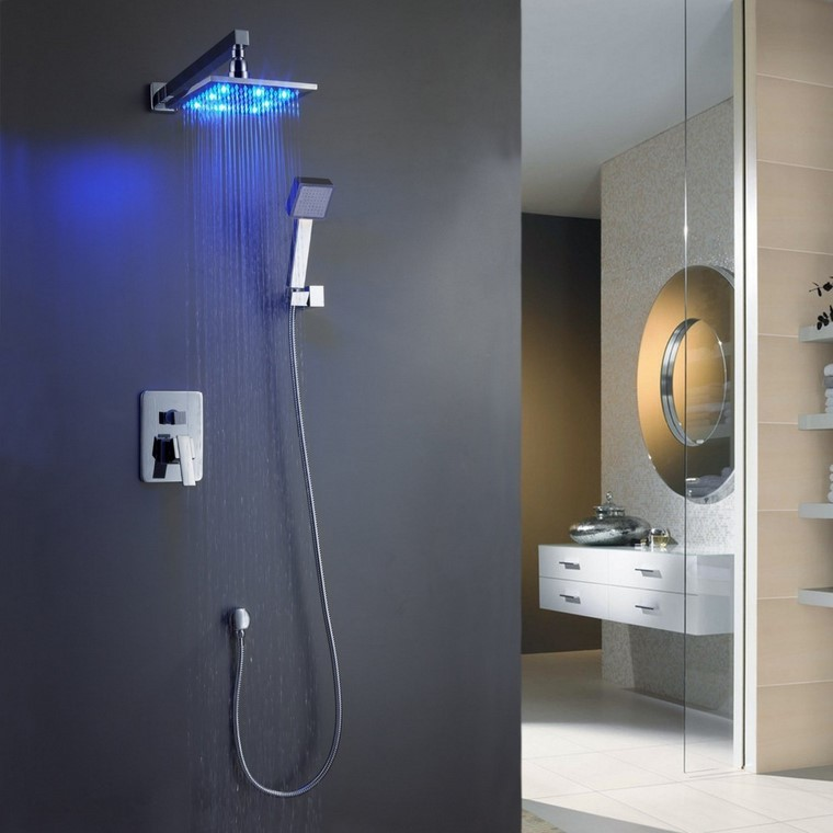decoración baño ducha iluminacion moderna azul lujo