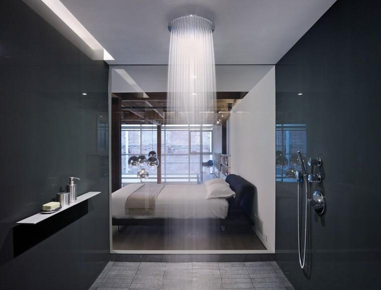decoración baños ducha techo moderna idea cristal