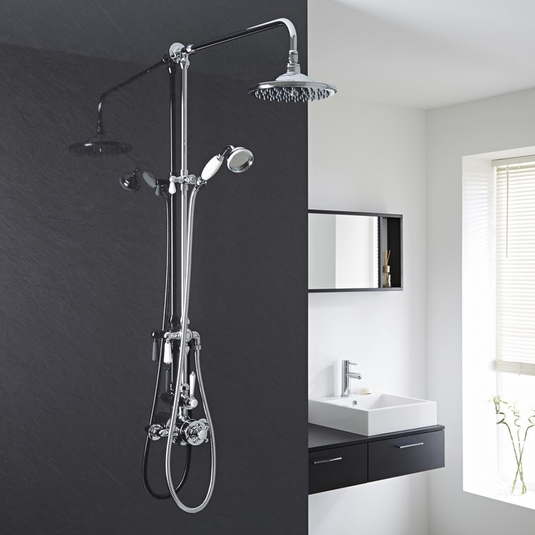 decoracin baos pared negra ducha forma idea redonda with decoracion baos con plato de ducha