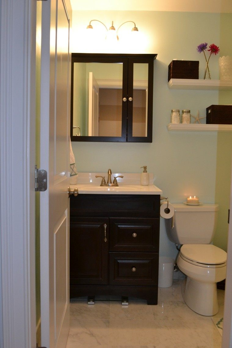 decoracion baños pequeños calido luces lampara