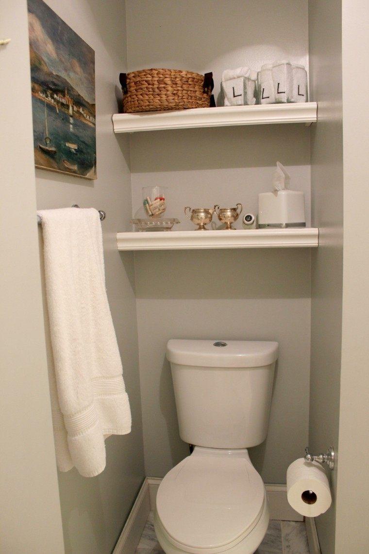 decoracion baños pequeños cesto mimbre estante