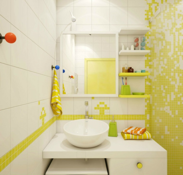 decoracion baños pequeños colorido blanco amarillo