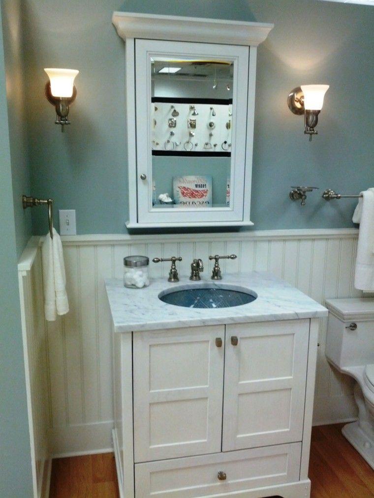 decoracion baños pequeños mubles blancos pastel