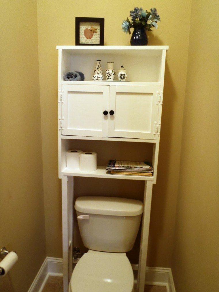 decoracion baños pequeños muebles madera jarron