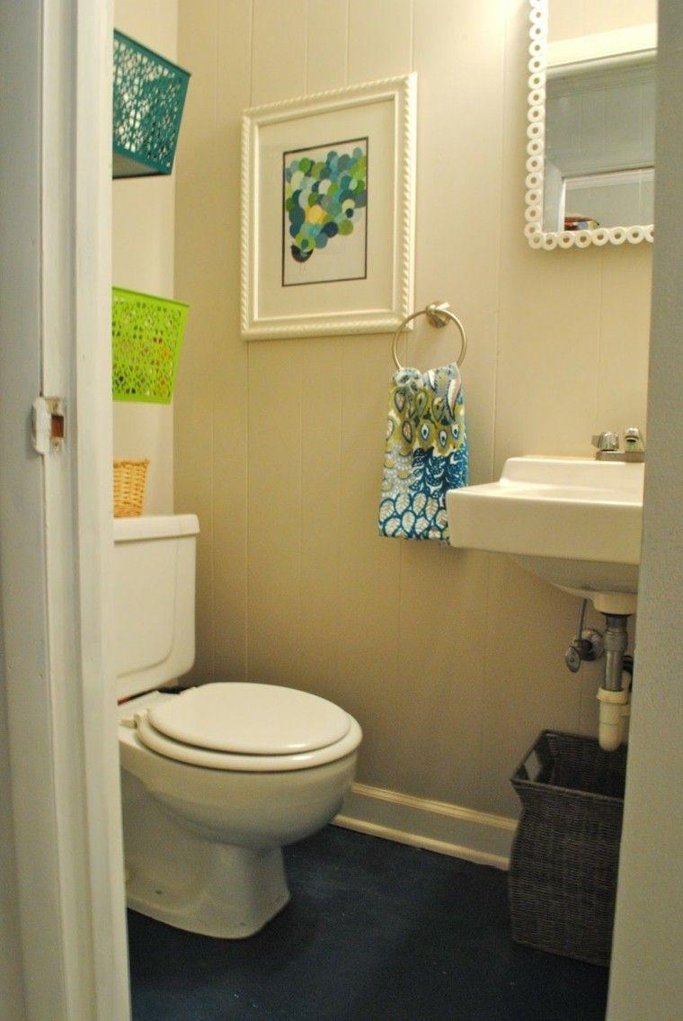 decoracion baños pequeños simple colorido cuadro