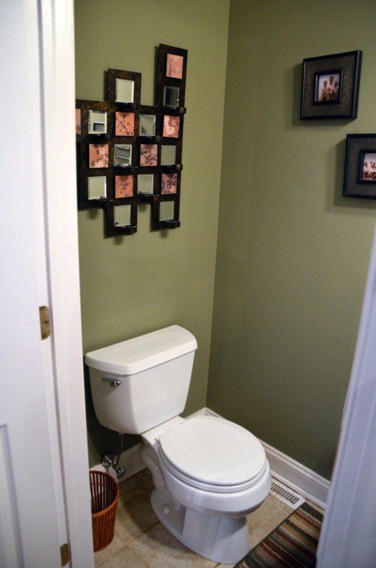 decoracion baños pequeños verde mural cuadros
