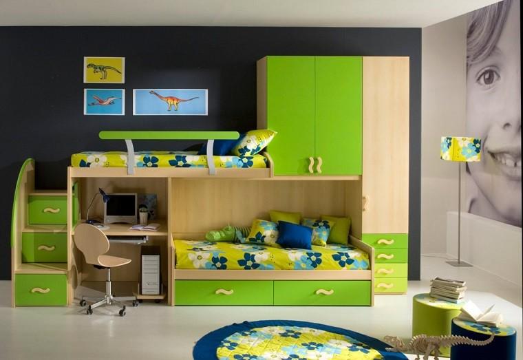 decoración de dormitorios infantiles muebles verde