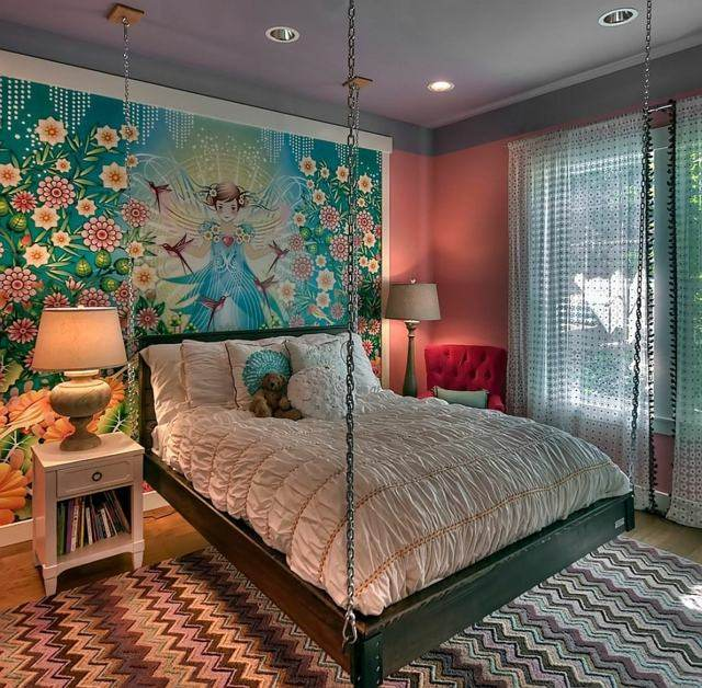 decoración de dormitorios infantiles flores niña cama