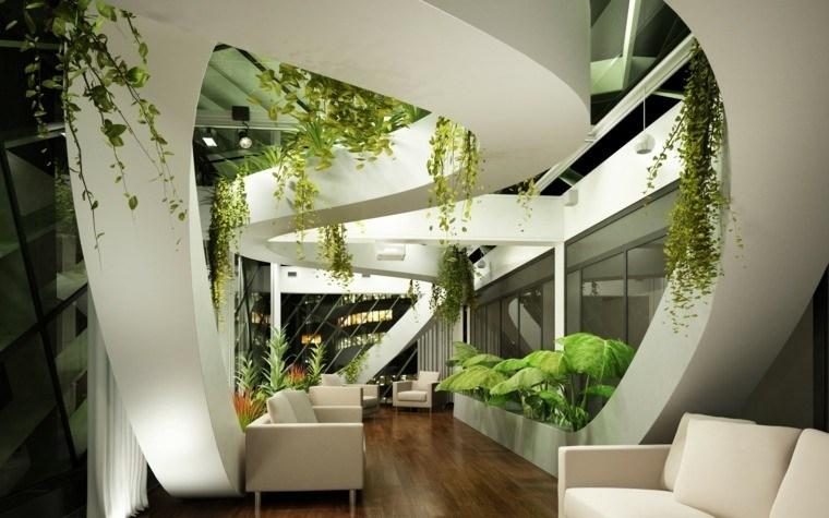 decoración de interiores con plantas verdes jardin colgantes