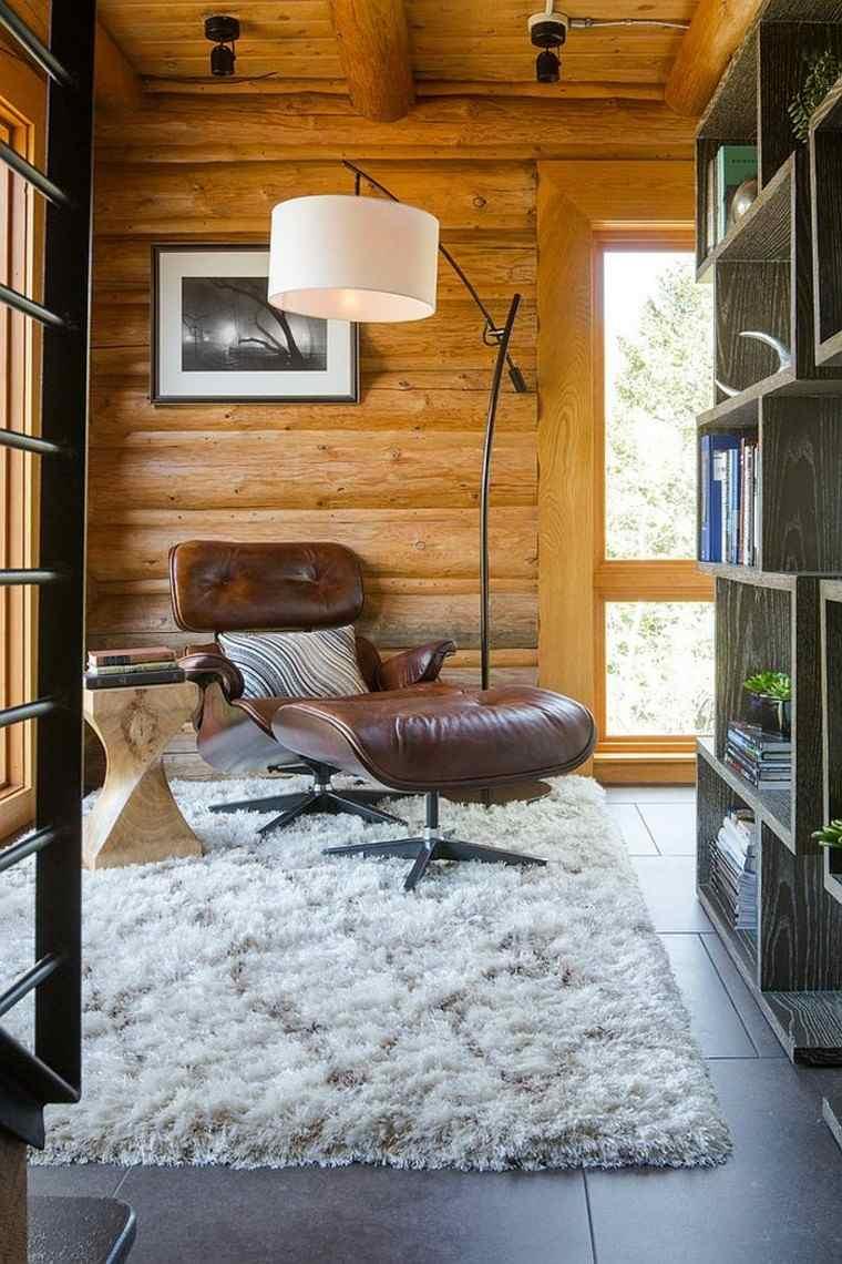 decoración de interiores para lecturas cuero sillon alfombra