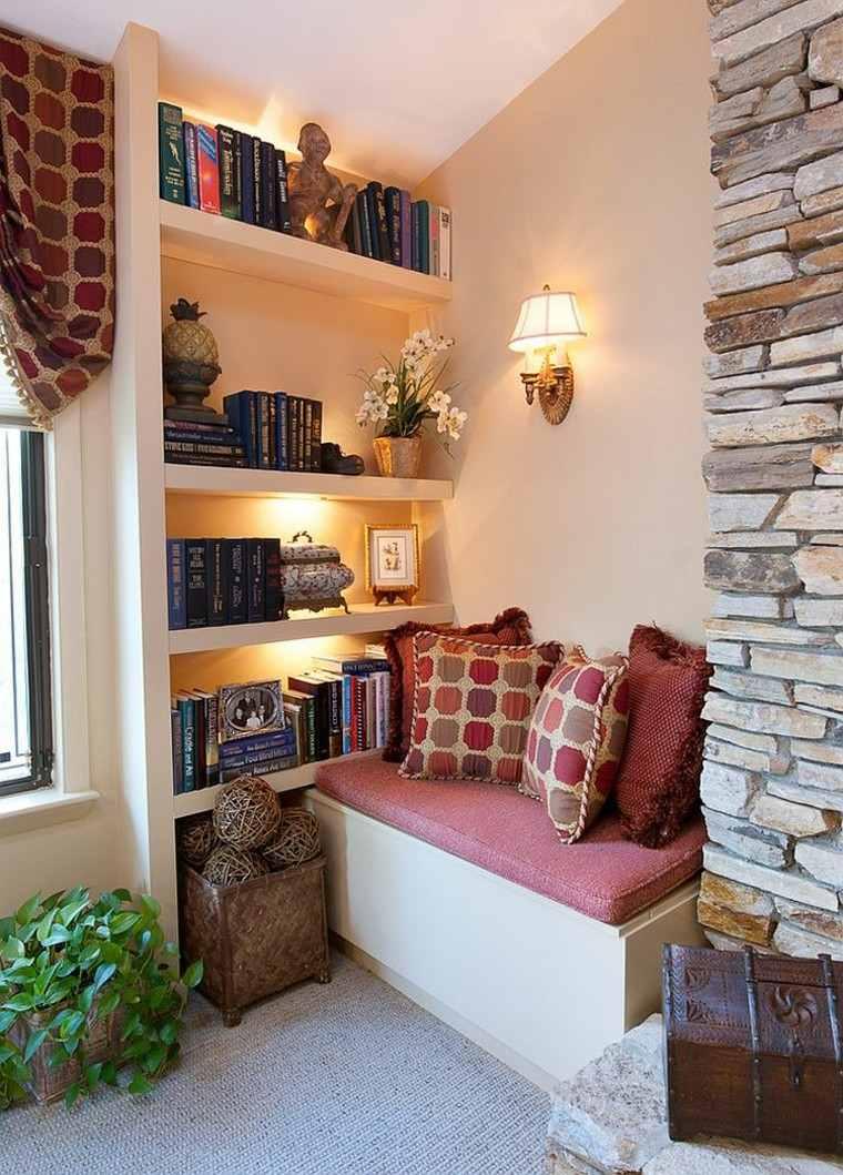 decoración de interiores para lecturas rocas cojines plantas