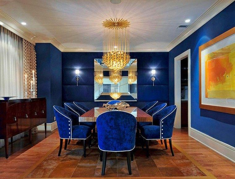 Decoración de interiores y color - azul en comedores.