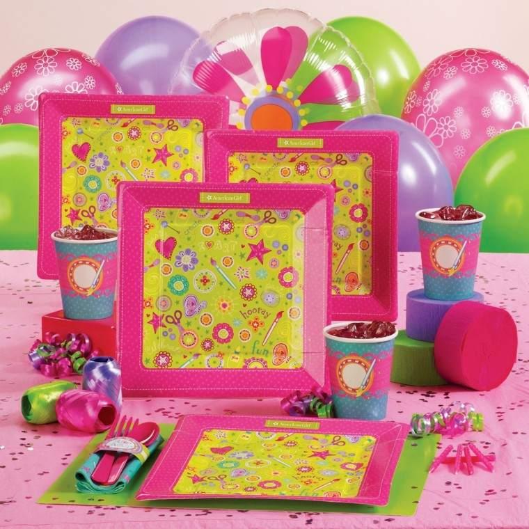 decoracion rosa amarillo platos papel servilletas globos bonito