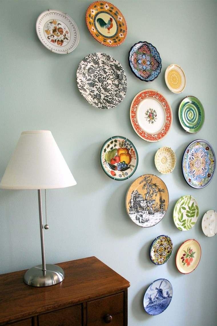 decorativo platos mural colorido diseños