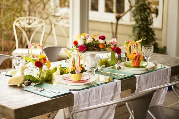 decoración mesa fiesta pato platos