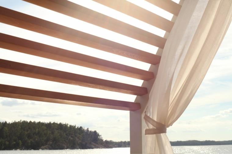 detalle madera cubierta cortina pabellon