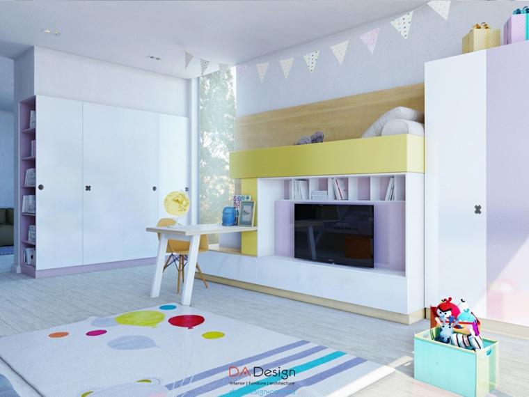 diseño amarillo pollo lila dormitorio