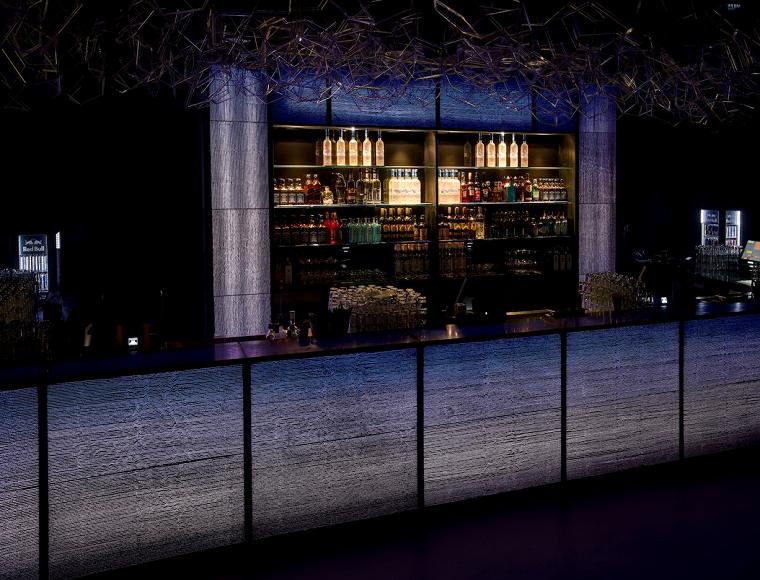 diseno bar aire libre iluminacion barra hormigon ideas