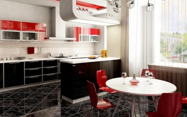 diseño cocina rojo negro mármol
