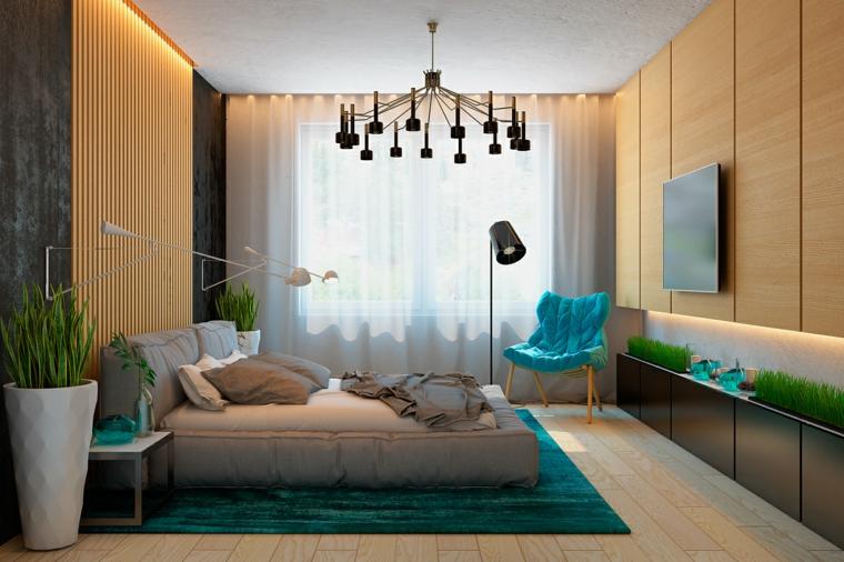 diseño con madera salon alfombra cojin plantas
