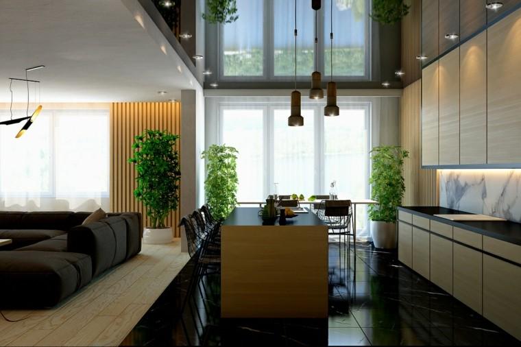 diseño con madera salon cocina led lujo
