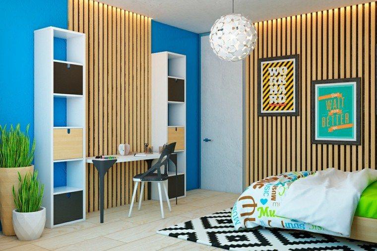 diseño con madera salon cuadros escritorio listones