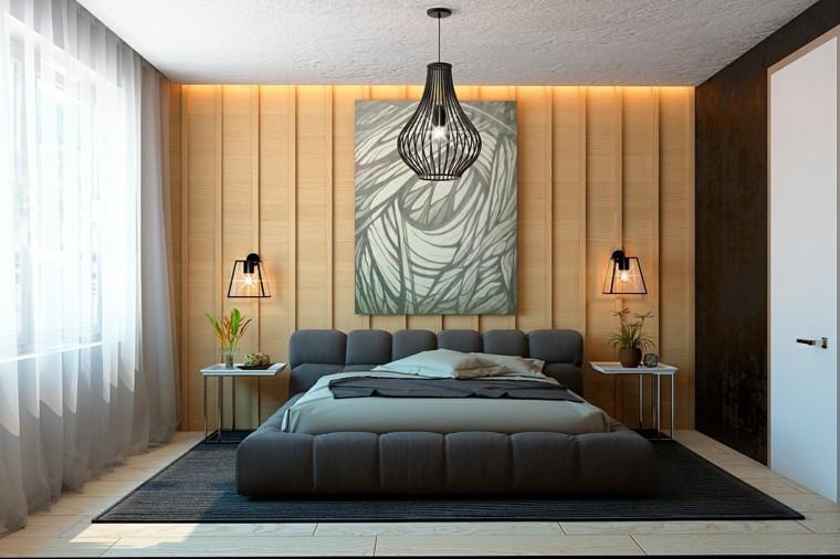 diseño con madera salon lampara cortinas cuadro