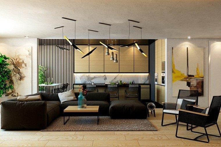 diseño con madera salon plantas muebles sofa
