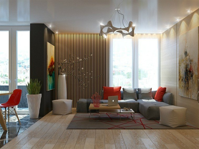 diseño con madera salon sillas roja listones