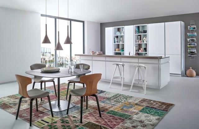 diseño de cocina abierta salon blanca moderna