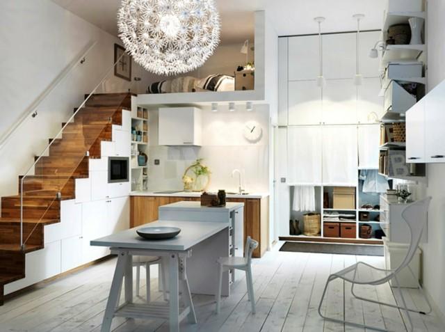 diseño de cocina estrecha armarios moderna madera