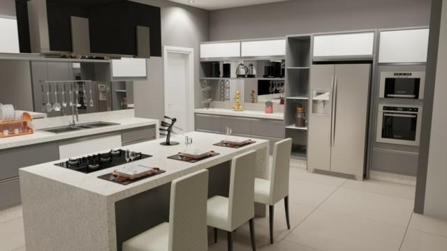 diseño de cocina isla electrodomesticos acero moderna