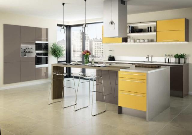 diseño de cocina isla sillas barra moderna amplia