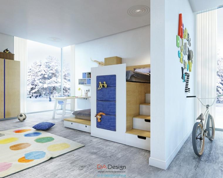 diseño dormitorios infantiles  juveniles escaleras