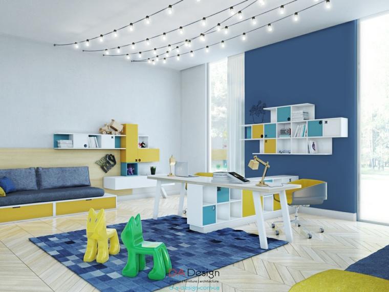 diseño dormitorios infantiles juveniles azul