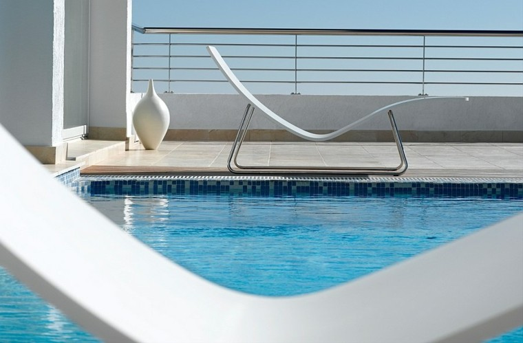 diseño exquisito blanco tumbona curvas minimalista maravillosa