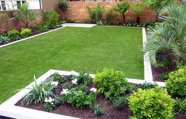 diseño jardín plantas césped
