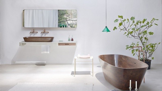 diseño madera bañera plantas sostenible natural