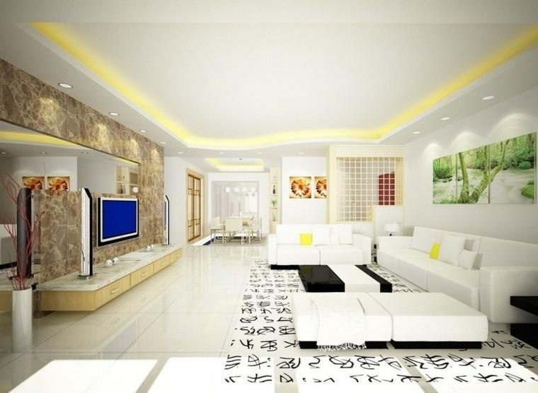 diseño moderno salón blanco alfombra