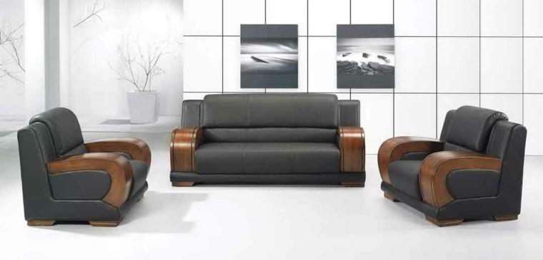 diseño moderno sofa madera combinacion