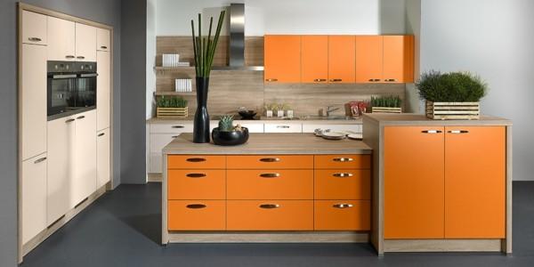 diseños de cocinas color naranja