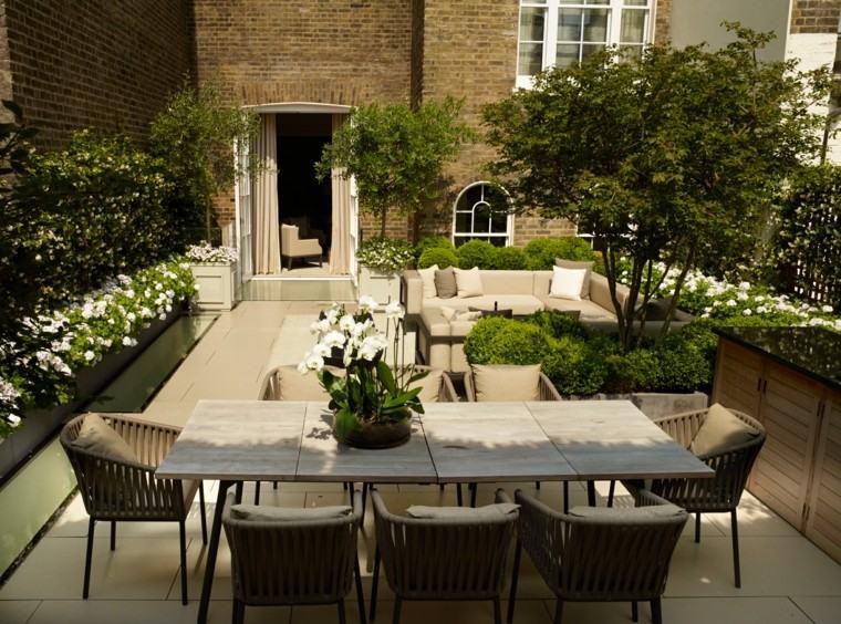 diseno de jardines modernos John Wyer lugar comer plantas blancas mesa