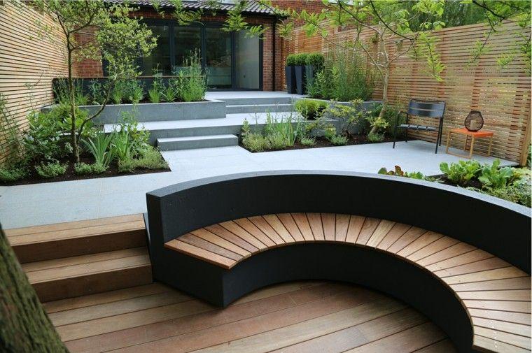 diseno de jardines modernos Rosemary Coldstream suelo madera hormigon ideas