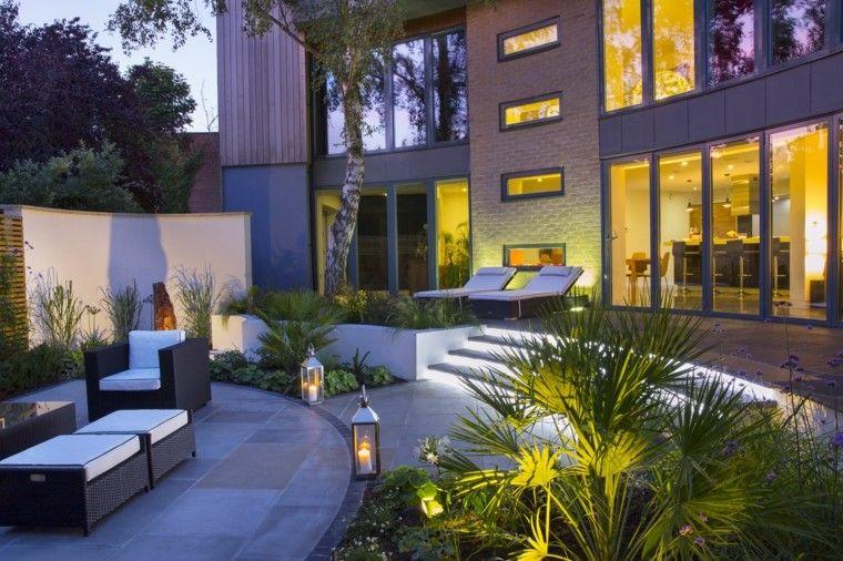 diseno de jardines modernos Sue Townsend muebles tumbona contemporaneo ideas
