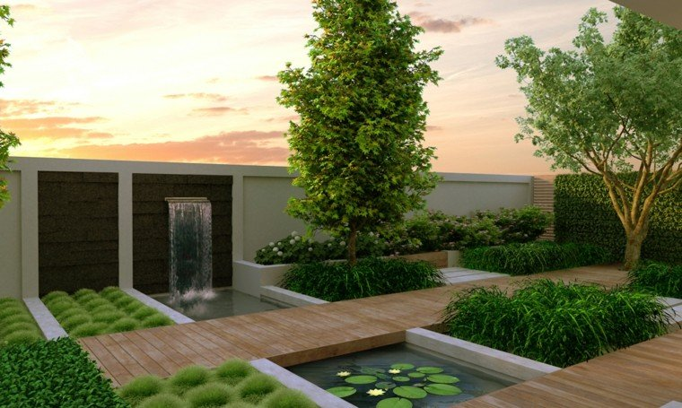 diseno de jardines modernos caminos madeara caida agua pared ideas